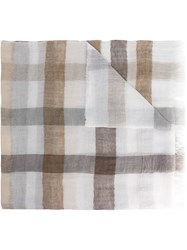 Dondup Checked Scarf White
