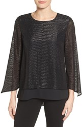 Chaus Women's Clipped Jacquard Double Layer Blouse Rich Black