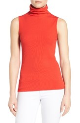 Halogenr Women's Halogen Sleeveless Ribbed Funnel Neck Top Red Bloom