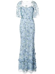 Marchesa Notte Floral Embroidered Fishtail Gown Blue