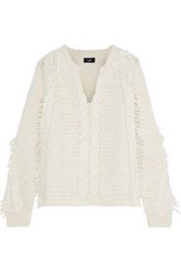 Line Frayed Cable Knit Sweater Ivory