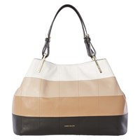 Karen Millen Graphic Square Leather Tote Bag Nude