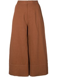Co Cropped Palazzo Pants Brown