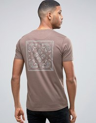 Brave Soul Indian Back Print T Shirt Taupe Blue