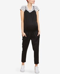 Motherhood Maternity Cargo Jumpsuit Black