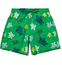 Vilebrequin Mistral Slim Fit Mid Length Embroidered Turtle Swim Shorts Green
