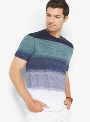 Michael Kors Mens Color Block Linen T Shirt Blue