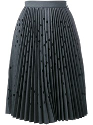 Msgm Polka Dot Cut Out Pleated Skirt Grey