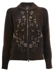 Avant Toi Floral Knit Zipped Cardigan Black