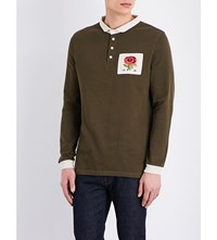 Kent And Curwen Rose Embroidered Cotton Jersey Rugby Top Olive