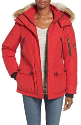 Pendleton Women's 'Expedition' Genuine Coyote Fur Trim Down Parka Red