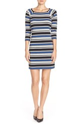 Women's French Connection Multi Stripe Jersey A Line Dress Empire Blue Multi
