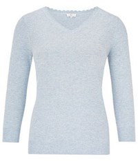 Cc Bobble Knit V Neck Jumper Pastel Blue