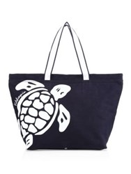 Vilebrequin Turtle Logo Canvas Tote Bag Navy