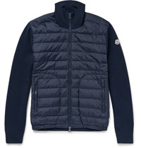 Moncler Wool Blend And Quilted Hell Down Jacket Navy