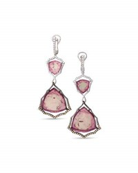 Frederic Sage Two Tone 18K Gold And Pink Tourmaline Earrings With Brown And White Diamonds
