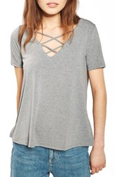Topshop Women's Cross Neck Tee Grey Marl
