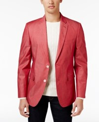 Tommy Hilfiger Men's Extra Slim Fit Red Chambray Sport Coat
