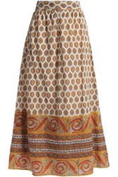 Antik Batik Soleil Printed Cotton Midi Skirt Saffron