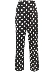 Rebecca De Ravenel Polka Dot Silk Trousers Black