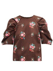 Msgm Floral Jacquard Gathered Sleeve Blouse Brown Multi