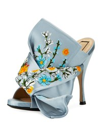 N 21 Embroidered Satin Bow Mule Sandal Blue