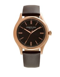 Kenneth Cole Mens Stainless Steel Leather Strap Watch Brown
