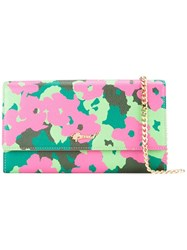Muveil Floral Print Chain Wallet Pink Purple