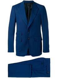 Tom Ford Pointed Lapels Two Piece Suit Men Silk Cupro Wool 50 Blue