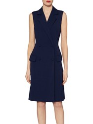 Gina Bacconi Crepe Double Breasted Coat Dress Spring Navy
