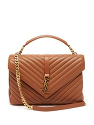 Saint Laurent College Large Quilted Leather Cross Body Bag Tan