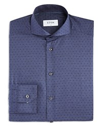 Eton Of Sweden Small Denim Broken Polka Dot Slim Fit Dress Shirt Blue
