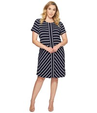Calvin Klein Plus Size Short Sleeve Striped T Shirt Dress Twilight Soft White Combo Women's Dress Blue