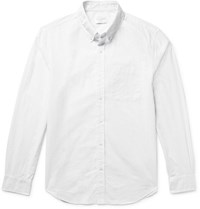 Club Monaco Slim Fit Button Down Collar Pin Dot Cotton Shirt White
