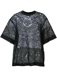 Vera Wang Layered Floral Lace Top Black