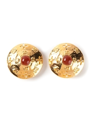 Chanel Vintage Cabochon Insert Earrings Metallic