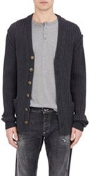 Dolce And Gabbana Rib Knit Oversized V Neck Cardigan Black
