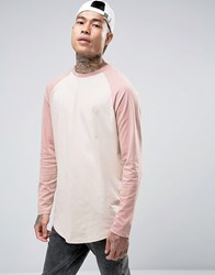 Asos Super Longline Long Sleeve T Shirt With Contrast Raglan And Curved Hem Belle Chalk Pink