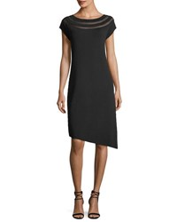 Nic Zoe Cap Sleeve Dress W Sheer Insets And Asymmetric Hem Black Onyx