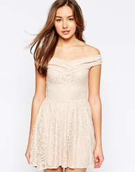Lipstick Boutique Hattie Off Shoulder Lace Dress With Flared Skirt Peachlace