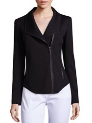 St. John Leather Trim Milano Knit Jacket