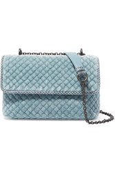 Bottega Veneta Olimpia Baby Watersnake Trimmed Quilted Velvet Shoulder Bag Blue