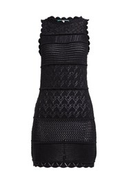 Alexachung Scalloped Cotton Blend Crochet Mini Dress Black