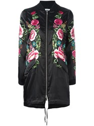 P.A.R.O.S.H. Floral Embroidered Long Bomber Jacket Black