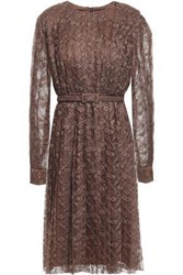 Mikael Aghal Woman Belted Pleated Lace Dress Brown