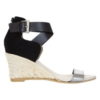 Mint Velvet Blair Leather Wedge Heeled Sandals Black Metallic