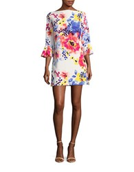 Tahari By Arthur S. Levine Floral Print Bell Sleeve Dress Ivory Coral
