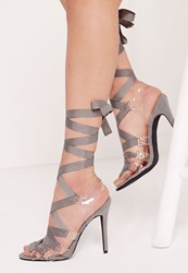 Missguided Perspex Ribbon Lace Up Sandal Grey Grey