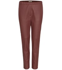 Bottega Veneta Leather Trousers Red
