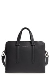 Salvatore Ferragamo Firenze Leather Briefcase Black